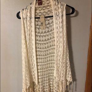 Arizona Jeans long crochet vest Sz GIRLS xl (16)
